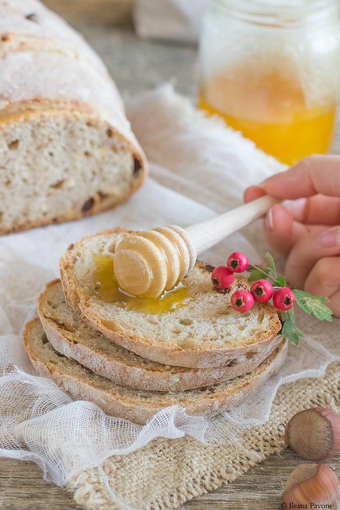 Pane al miele, nocciole e uvetta