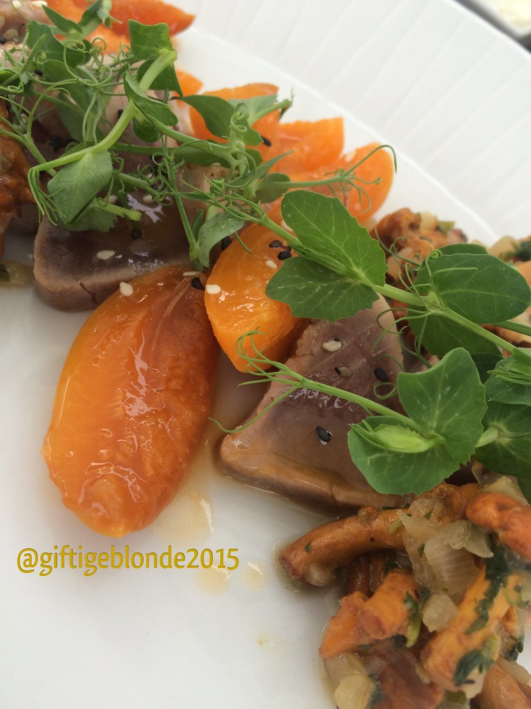 Geflämmter Thunfisch mit Marille und Eierschwammerl