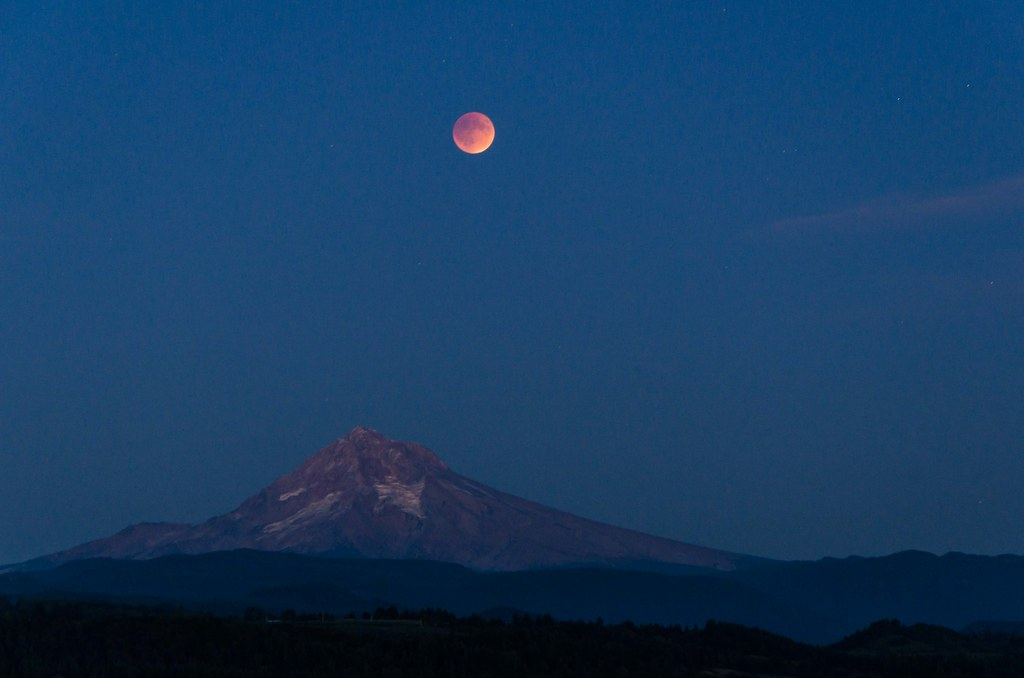 Lunar Eclipse over Mount Hood