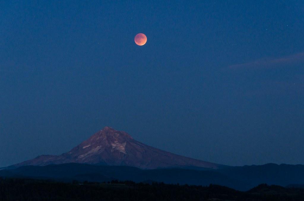 Lunar Eclipse over Mount Hood
