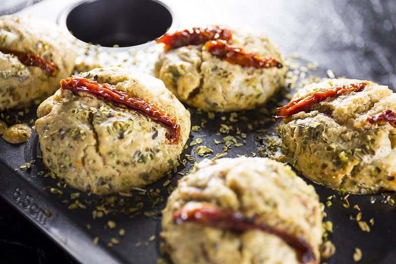 Hot-melt sun-dried tomato and mozzarella muffins