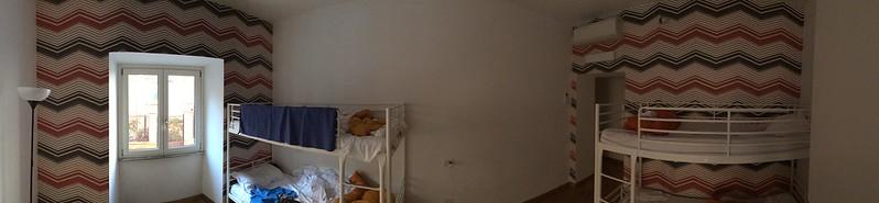 Hostel room.