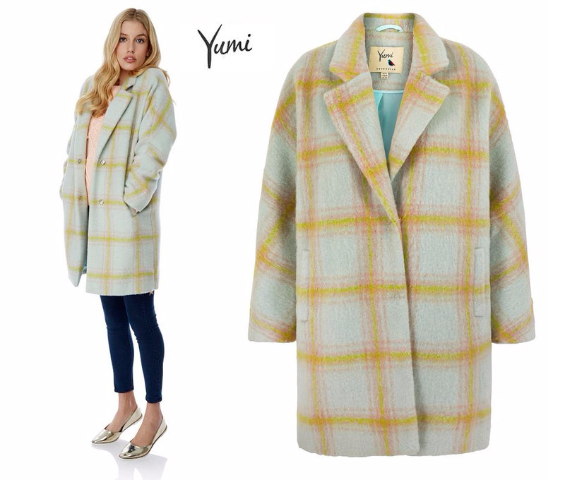 Yumi AW15 yellow and grey check coat