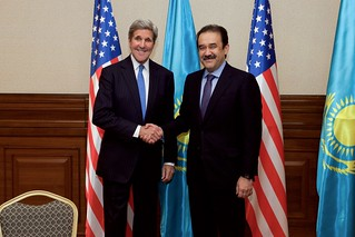 Secretary Kerry Shakes Hands With Kazakhstan Prime Minister Massimov in Astana