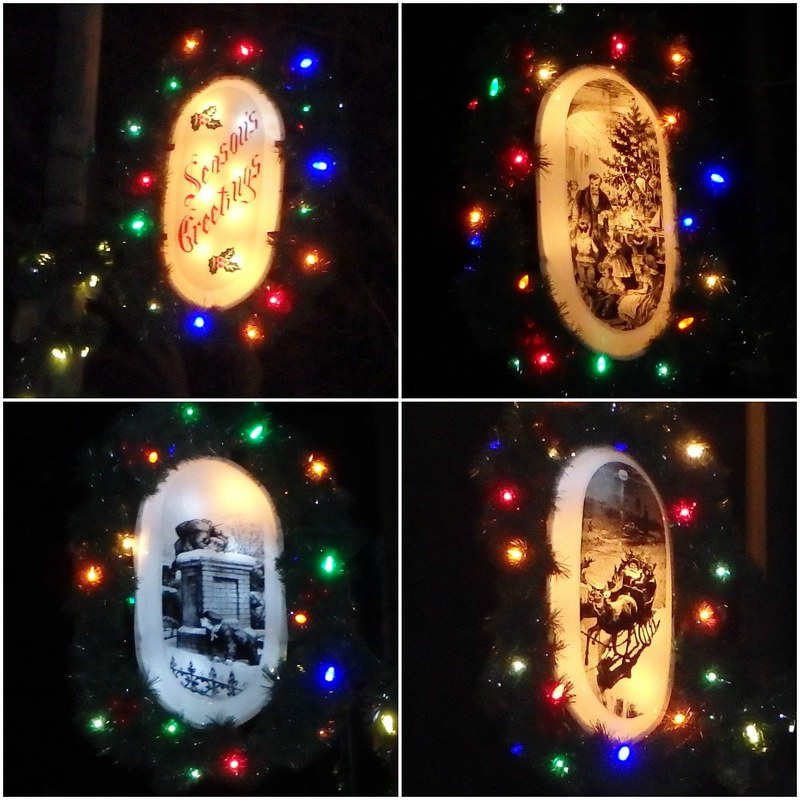 three drawings on white oval lights surrounded by garland