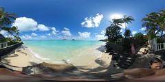 "Nā Mokulua (tr. The Two islands) a.k.a. ""The Mokes"" and Na Moku Manu (the bird islands) as seen from the Punawai a.k.a. Lanikai Beach in Kailua, O'ahu, Hawai'i - A 360° Equirectangular VR"