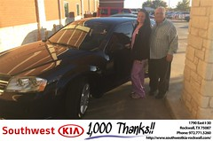 Congratulations Beckey on your #Dodge #Avenger from Brad Kinzbach at Southwest KIA Rockwall!