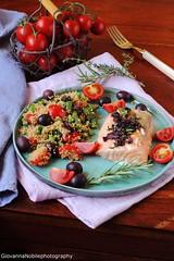 Cous cous con verdure ed erbe aromatiche e trancio…