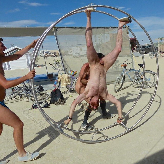 naturist gymnastics wheel camp Gymnasium 0075 Burning Man, Black Rock City, NV, USA