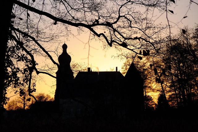 dusk -  castle Borken Gemen Münsterland Germany