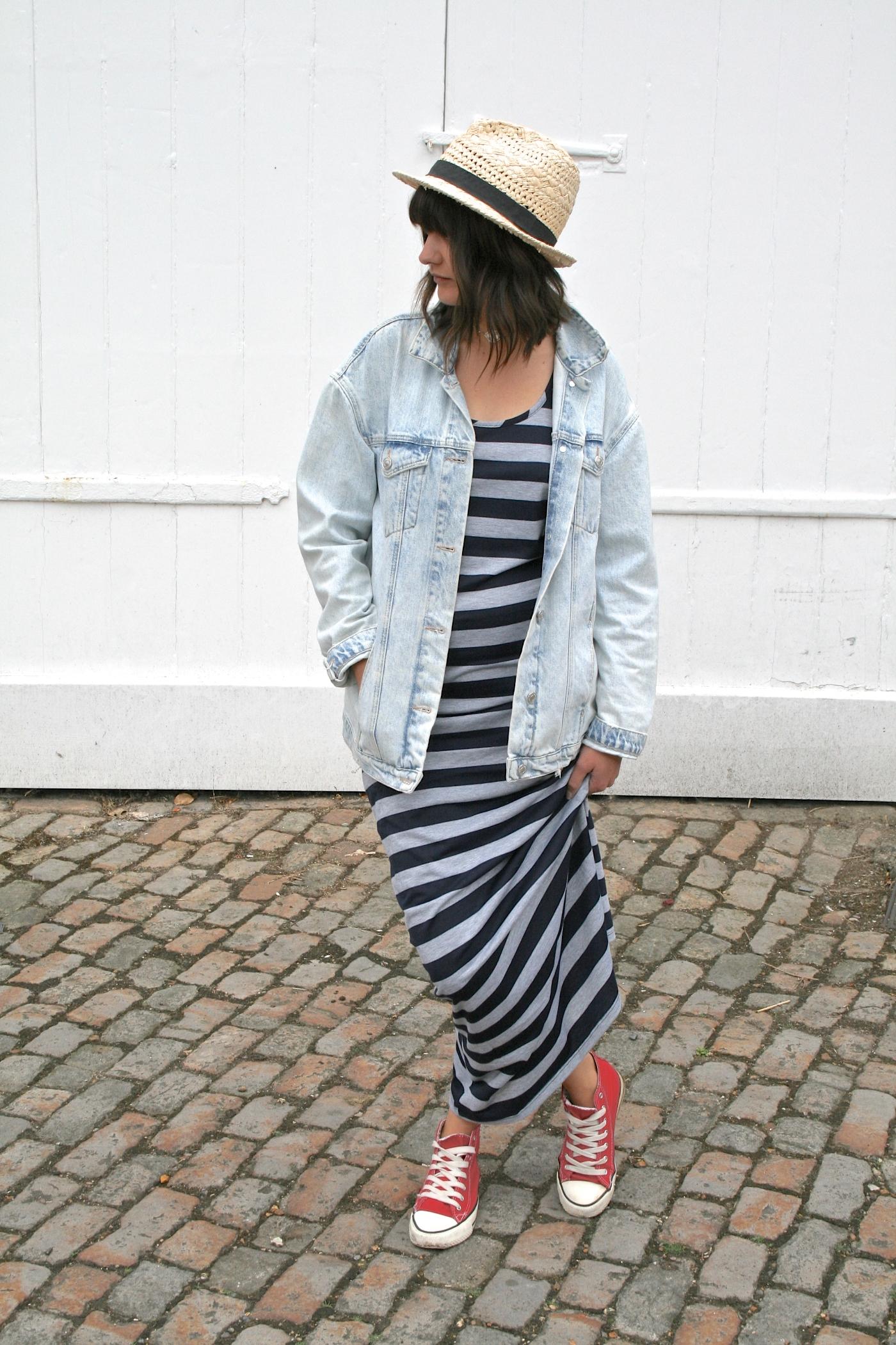 denim jacket, stripy maxi dress, red converse