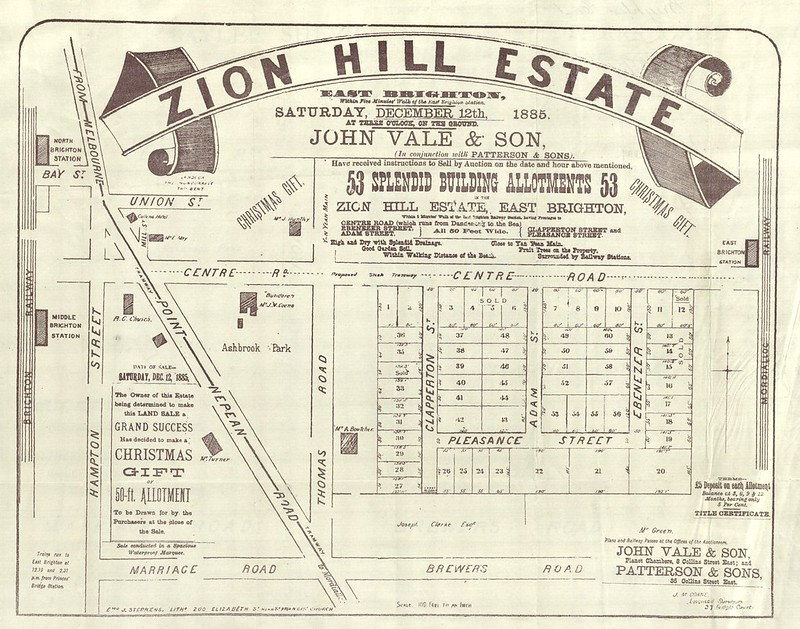 Ad for Zion Hill estate, Bentleigh 1885