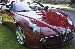 automobile(1.0), automotive exterior(1.0), alfa romeo(1.0), vehicle(1.0), automotive design(1.0), alfa romeo 8c(1.0), alfa romeo 8c competizione(1.0), land vehicle(1.0), luxury vehicle(1.0), supercar(1.0), sports car(1.0),