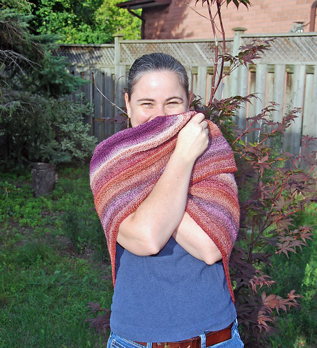 Hug of handspun Diminishing Returns triangle shawl by irieknit