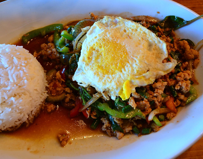 Pad Krapow Gai Sap Kai Dow - Basil Chicken with Fried Egg