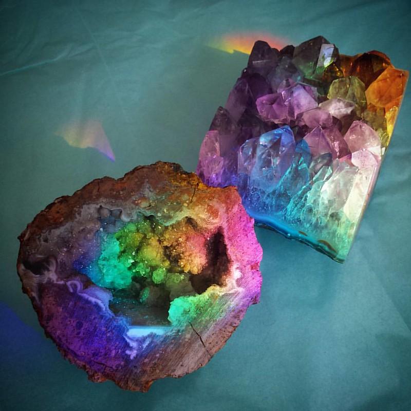 Rainbow Recharge #amethyst #geode #prism