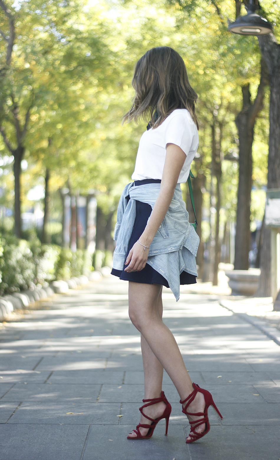 Blue Skirt Denim Shirt scarf Dior SoReal Sunnies03