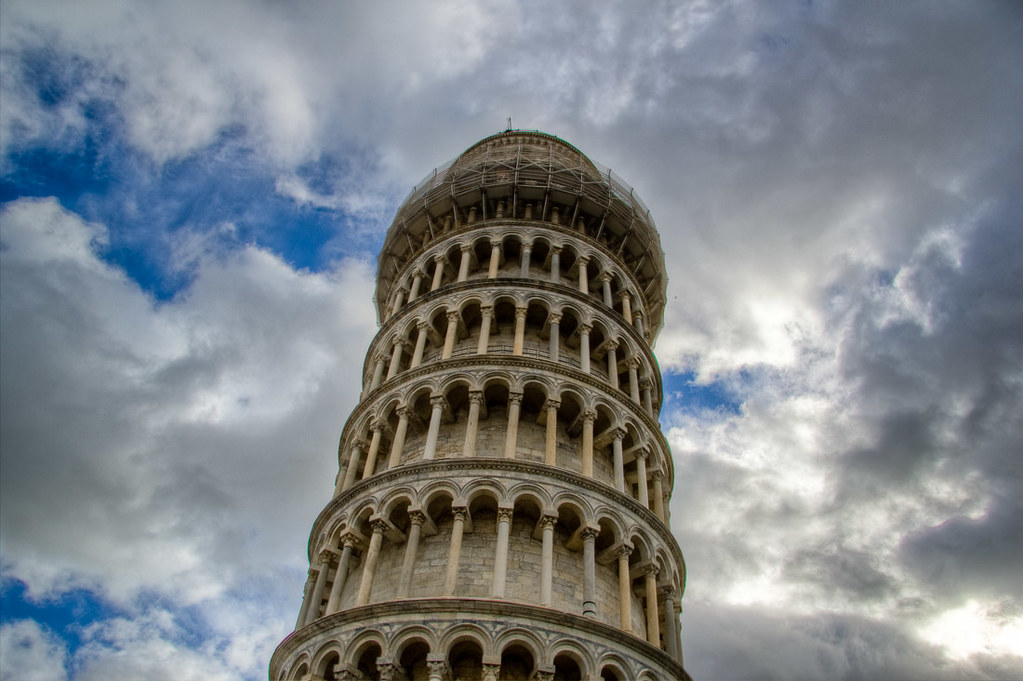 Closeup of the Leaning tower of pisa