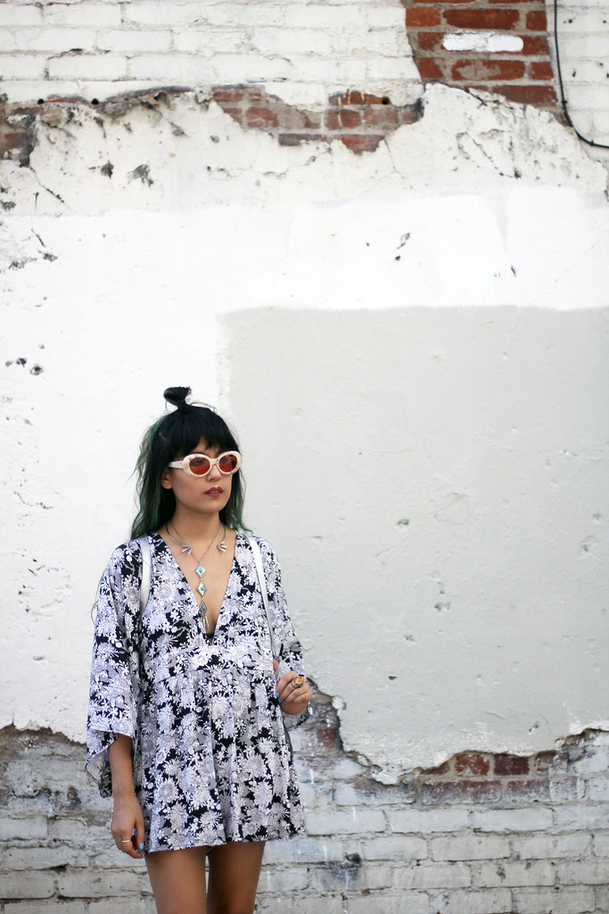 Motel Rocks kimono romper, Acne Studios Mustang Pink, Maryam Nassir Zadeh Sophie Sandals watermelon suede, Young Hungry Free backpack,