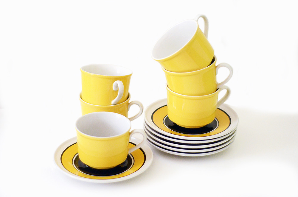 Six Vintage Yellow and Black Mikasa Cups and Saucers