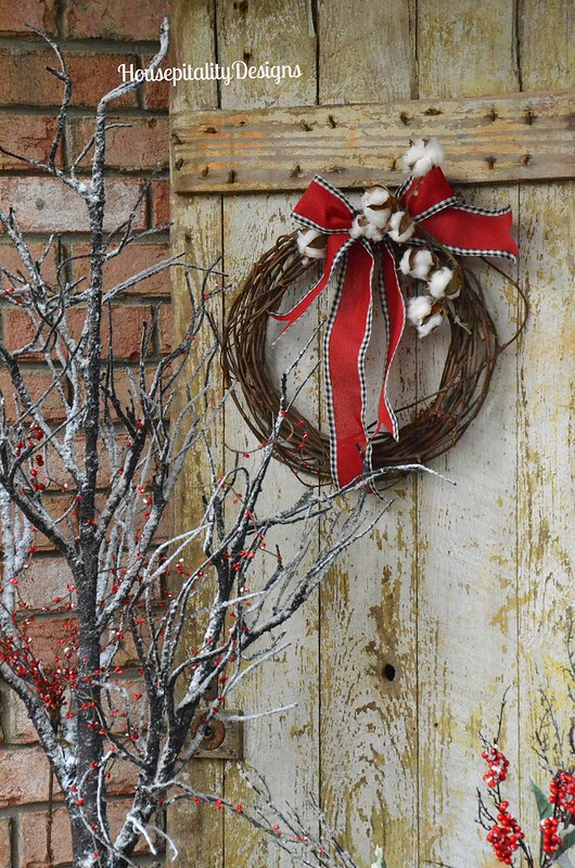 Christmas 2015 Front Porch/Vintage Door - Housepitality Designs