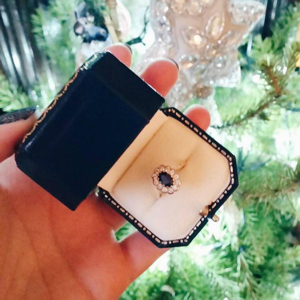vintage engagement ring sapphire diamond