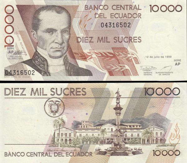 10 000 Sucres Ekvádor 1995-99 P127