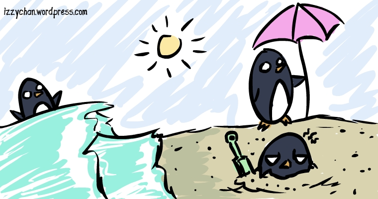 three penguins on the beach