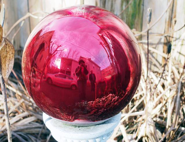 Red garden orb