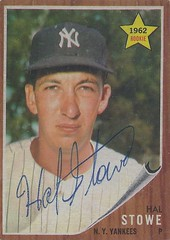 1962 Topps - Hal Stowe #291 (Pitcher) - Autographed Rookie Baseball Card (New York Yankees) (1 Game Career)
