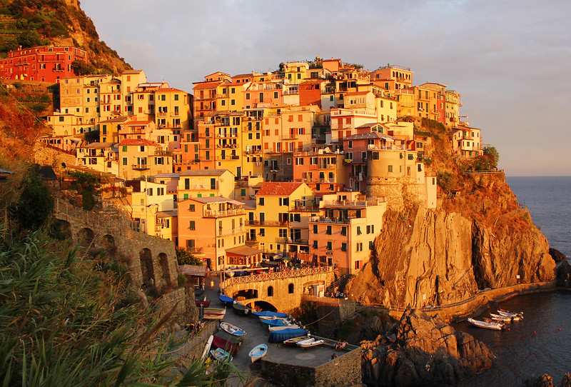 Vernazza Cinque Terre golden buildings at sunset