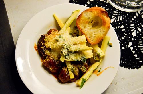 Spiced Meatballs with Garlic Toasts & Summer Squash Salad