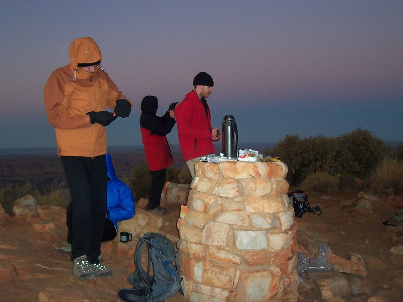 Waiting for sunrise on Mount Sonder with a cuppa - Larapinta Trail