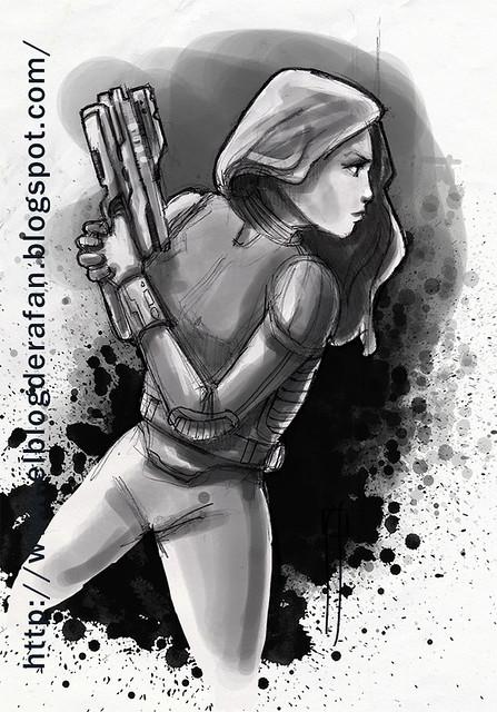 chica con pistols tinta