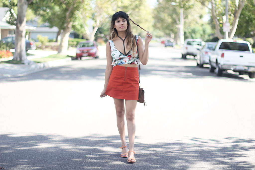 Cotton Candy LA top, Nasty Gal harness bralette bra, Zara red A-line skirt, Nila Anthony suede purse, Maryam Nassir Zadeh Sophie suede sandals