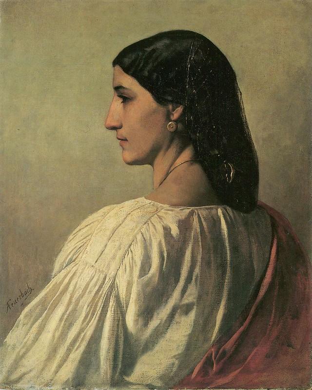 Anselm Feuerbach - Nanna, Brustbild schräg von Rückwärts gesehen, Profil nach links