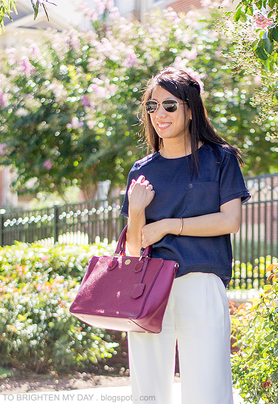 navy tee, white trousers, purple red tote