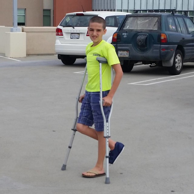 #12yo and crutches.