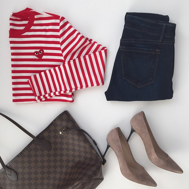 Red & White Long Sleeve Striped T-Shirt - Outfit