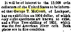 McComb 1804 dollar exhinit