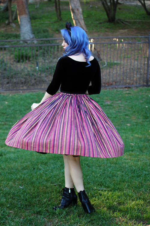 Pinup Girl Clothing Pinup Couture Jenny Skirt in Warm Cabana Stripes Lolita Top in Black Velvet