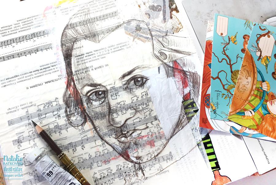 Mozart. Color pencil on paper collage