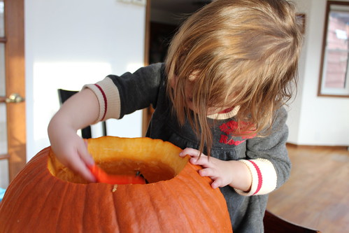 Evelyn Helping Scoop the Pumpkin