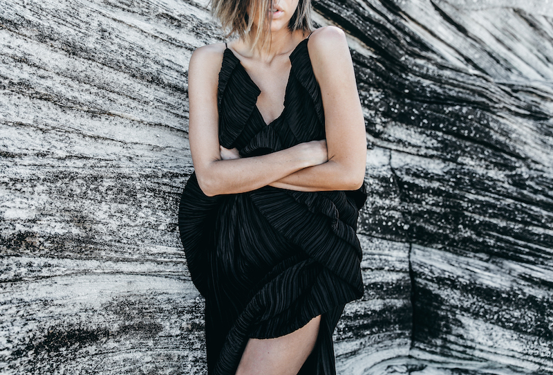 editorial new years eve all black outfit inspo Michael Lo Sordo gown beach modern legacy (8 of 10)
