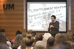 Petrella participo de la charla de el colectivo el Fantasma de Heredia en la UM