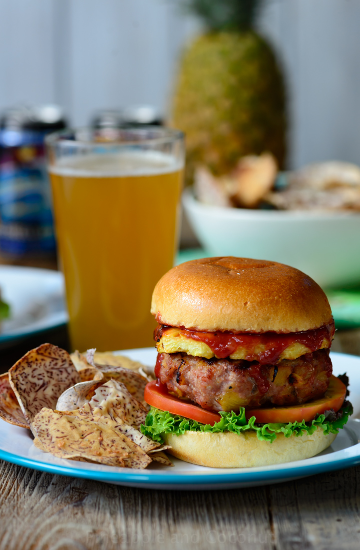 Hawaiian Pineapple Burger with Sweet Maui Onions and Homemade Taro Chips www.pineappleandcoconut.com