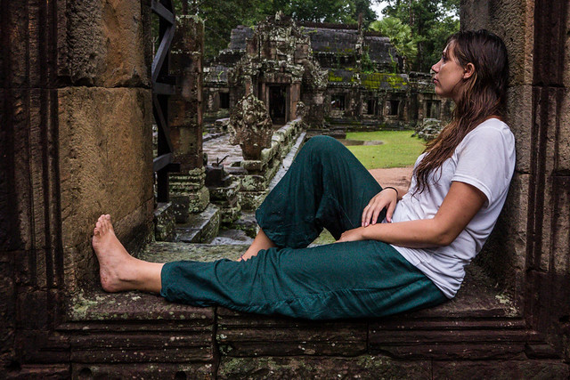 Banteay Kdei Temple me sitting in a window  at Angkor Wat in Siem Reap, Cambodia-4 Budget Guide to Cambodia | Tips on how to do Cambodia on the cheap | How to travel Cambodia cheaply | Cambodia on a budget | 2 weeks in Cambodia