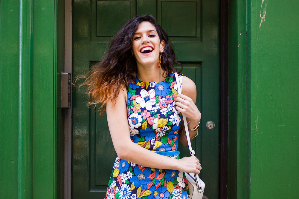 asos floral a-line dress outfit ombre hair