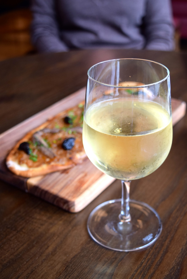 White Wine & Pissaldiere at Cote in Canterbury