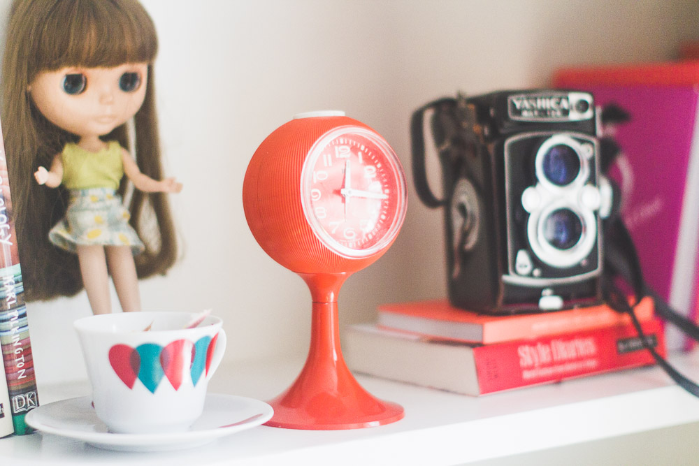 midcentury style colourful home cute shelf details